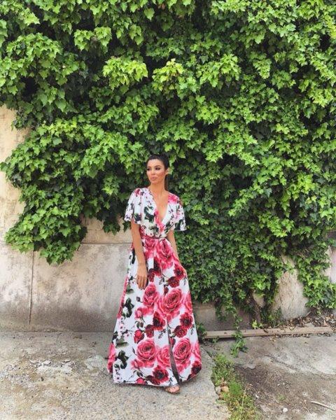 МЕГЗ дълга рокля с принт цветя